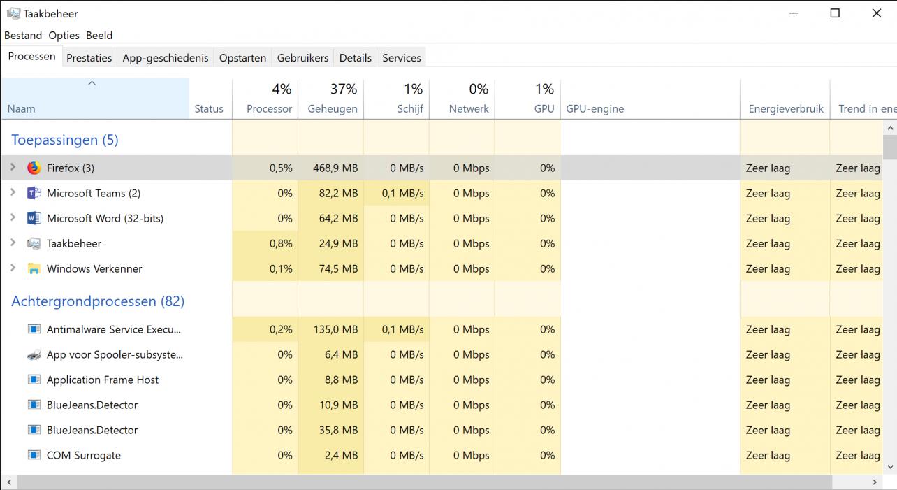 Windows 10 taakbeheer energieverbruik
