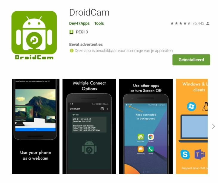 Droidcam play store