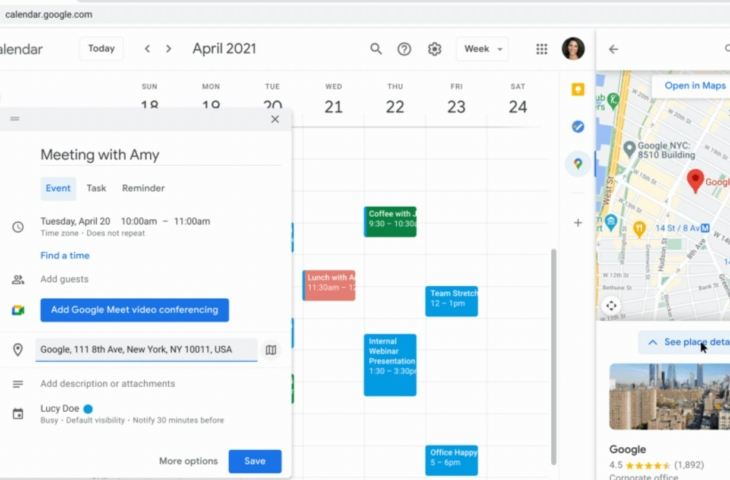Google agenda maps widget