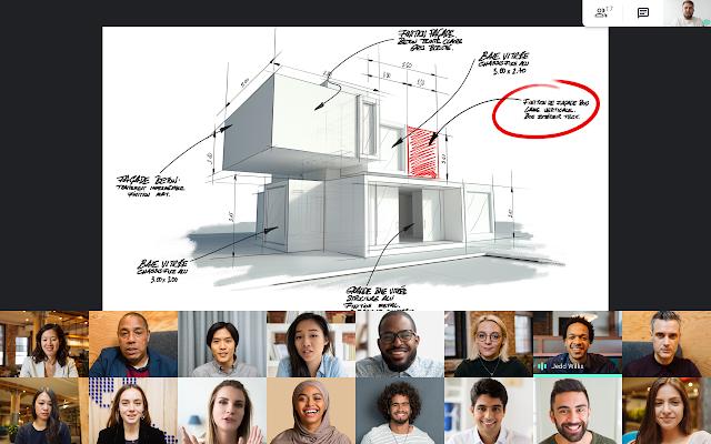 Google Meet tegels met presentatie